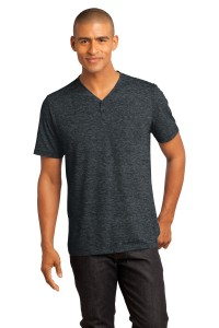 DISCONTINUED District Made - Mens Tri-Blend Short Sleeve Henley Tee. DM342