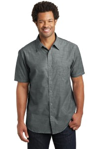 District Made Mens Short Sleeve Washed Woven Shirt. DM3810