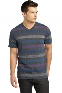 CLOSEOUT District - Young Mens Reverse Striped V-Neck Tee. DT129