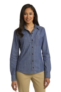 Port Authority Ladies Patch Pockets Denim Shirt. L652