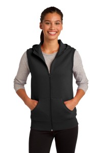 Sport-Tek Ladies Hooded Fleece Vest. LST268