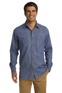 Port Authority Patch Pockets Denim Shirt. S652