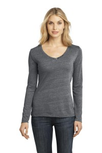 District Made® - Ladies Textured Long Sleeve V-Neck with Button Detail. DM472