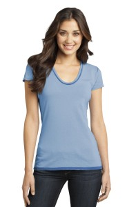 DISCONTINUED District® - Juniors Faded Rounded Deep V-Neck Tee. DT2202
