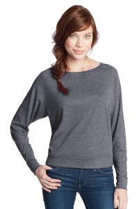 DISCONTINUED District® - Juniors Textured Wide Neck Long Sleeve Raglan DT272