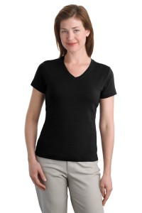 CLOSEOUT Port Authority® Ladies Modern Stretch Cotton V-Neck Shirt. L516V